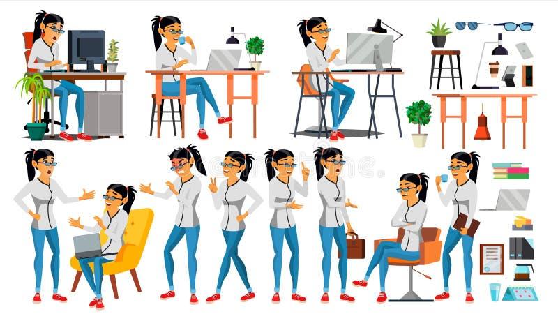 Vektor för tecken för affärskvinna Funktionsduglig asiatisk folkflickauppsättning Kontor idérik studio asiat symboliskt läge för  stock illustrationer