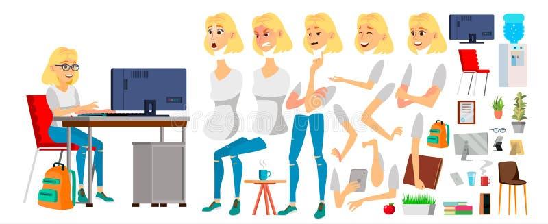 Vektor för tecken för affärskvinna Funktionsduglig kvinnlig blond flicka Affärstecken som arbetar på kontorsskrivbordet Animering stock illustrationer