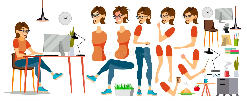 Vektor för tecken för affärskvinna Funktionsduglig kvinnlig flicka KontoristWorking At Office skrivbord Animeringuppsättning attr royaltyfri illustrationer