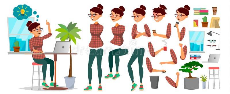 Vektor för tecken för affärskvinna Funktionsduglig kvinnlig Tillfällig kläder Starta upp kontor Flickabärare Animeringuppsättning royaltyfri illustrationer