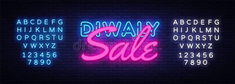 Vektor för tecken för Diwali festivalSale neon Tecken för neon för Diwali hinduiskt Sale designmall, ljust baner, neonskylt vektor illustrationer