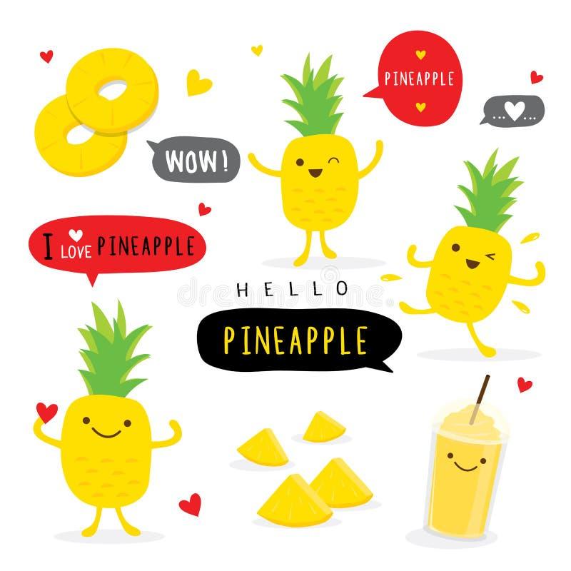 Vektor för tecken för leende för tecknad film för ananasfruktsommar rolig gullig royaltyfri illustrationer