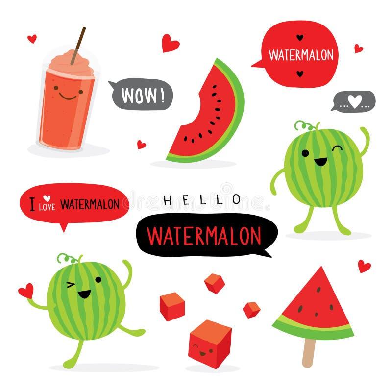 Vektor för tecken för leende för tecknad film för vattenmelonfruktsommar rolig gullig vektor illustrationer