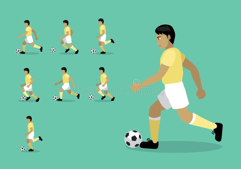 Vektor för tecknad film för följd för rörelse för animering för dribbling för fotboll för fotbollspelare stock illustrationer