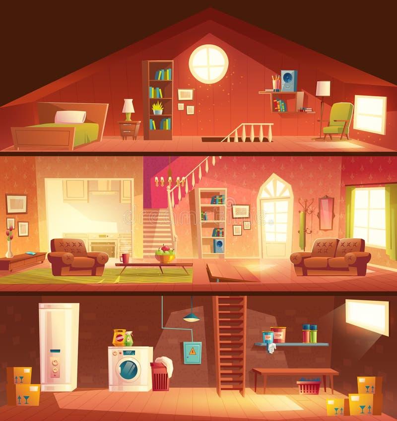 Vektor för tecknad film för hustvärsnittinre royaltyfri illustrationer