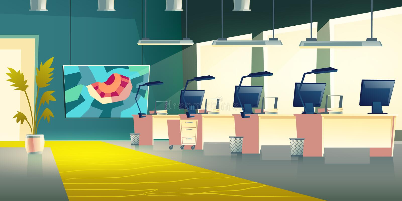 Vektor för tecknad film för modern företagskontorskorridor inre vektor illustrationer