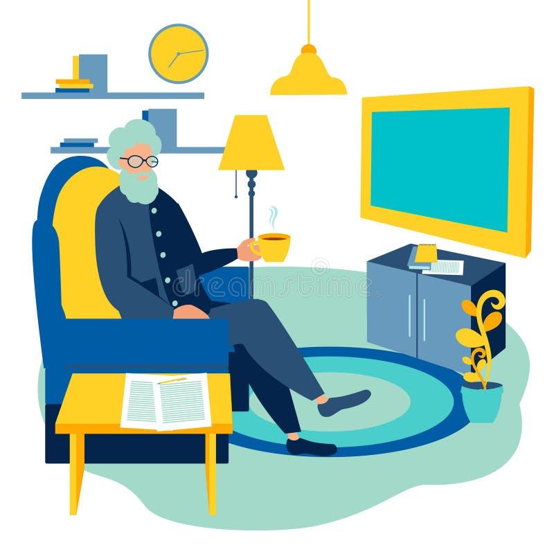 Vektor för tecknad film för TV för gamal man hållande ögonen på hemmastadd vektor illustrationer