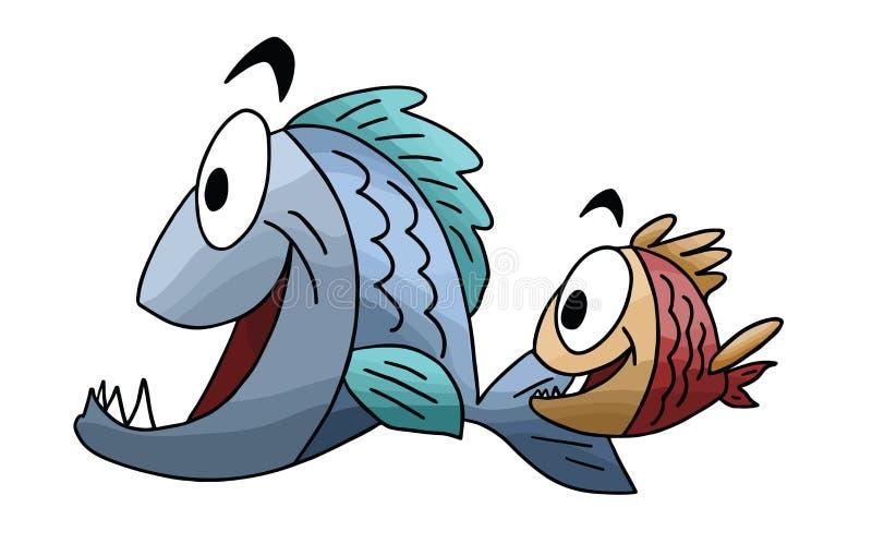 Vektor för tecknad filmfisk-, fader- och sonsimning stock illustrationer