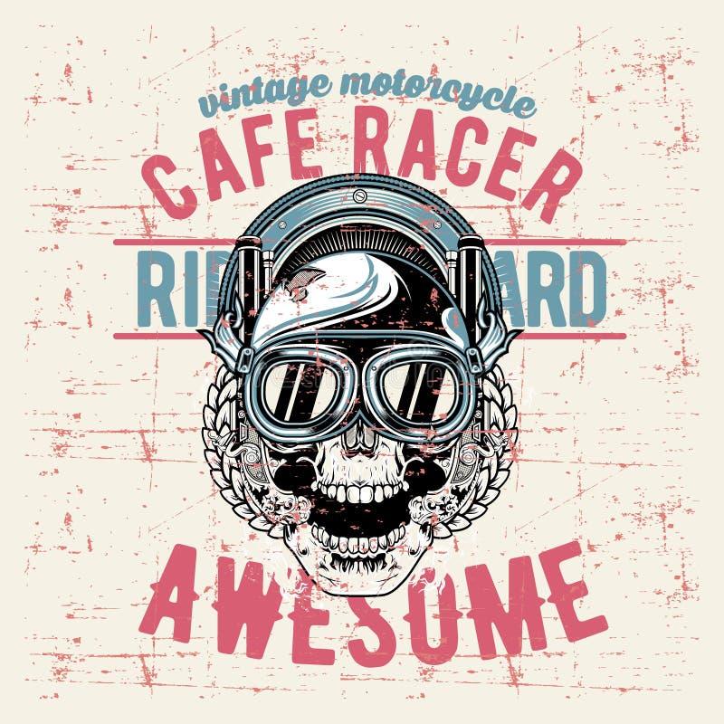 Vektor för teckning för hand för racerbil för kafé för skalle för Grungestiltappning royaltyfri illustrationer