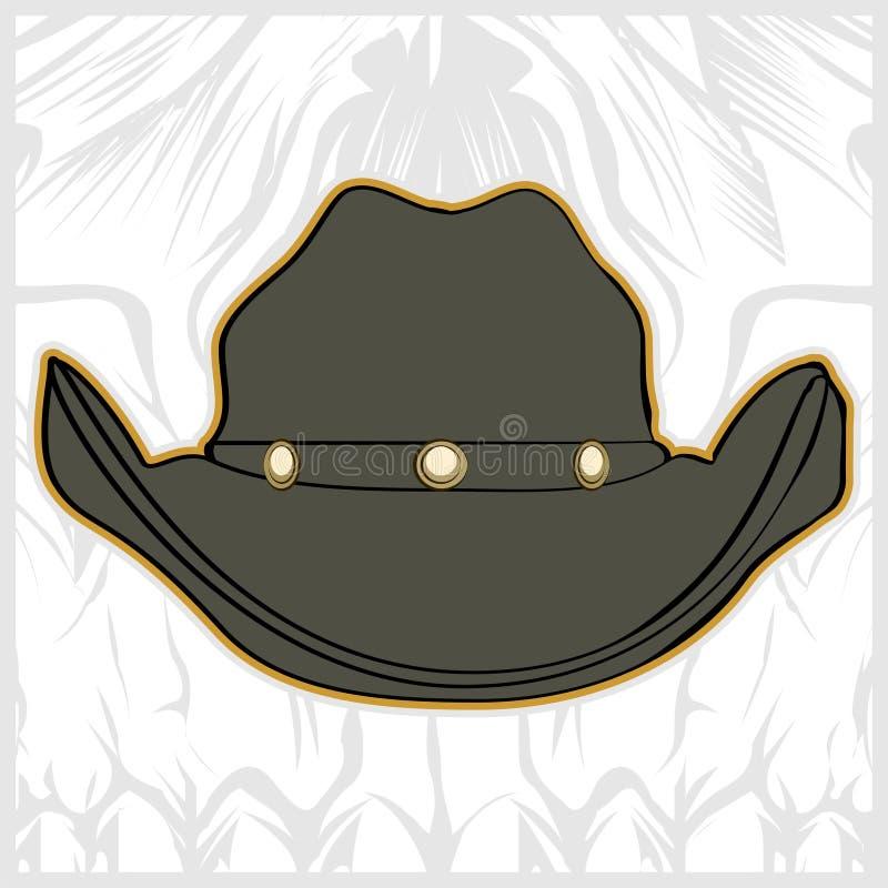 Vektor för teckning för hattcowboyhand vektor illustrationer
