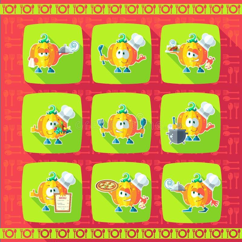 vektor för tema för symbolsillustrationkök set Roliga kockar - pumpa i stil royaltyfri illustrationer