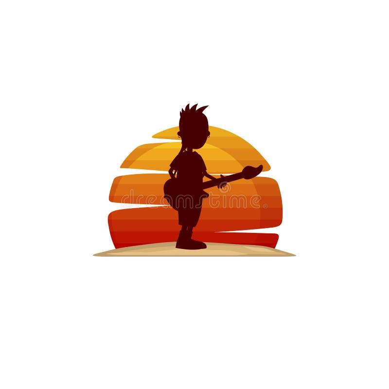 vektor för tema för gitarristmusikerkontur royaltyfri illustrationer