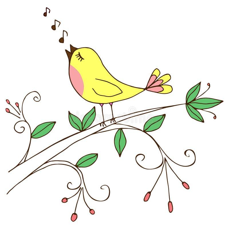 vektor för text för ställe för illustration för fågelkorthälsning din sjungande stock illustrationer