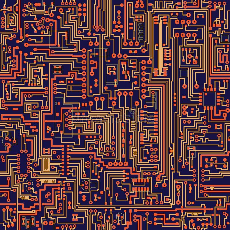 vektor för textur för brädeströmkrets seamless stock illustrationer