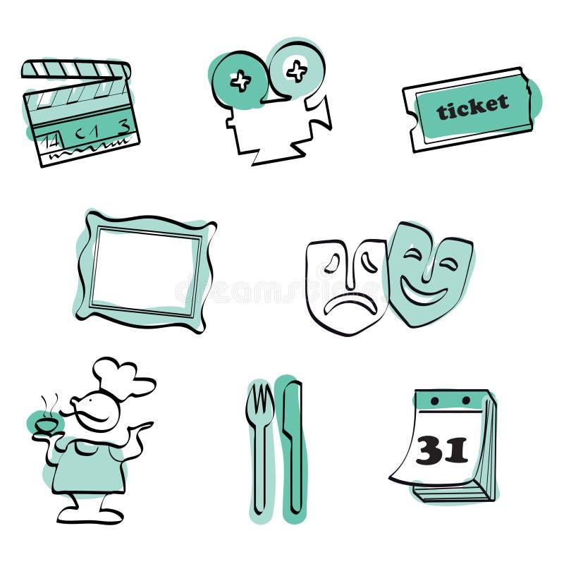 Vektor för tid för symbolsfritid set
