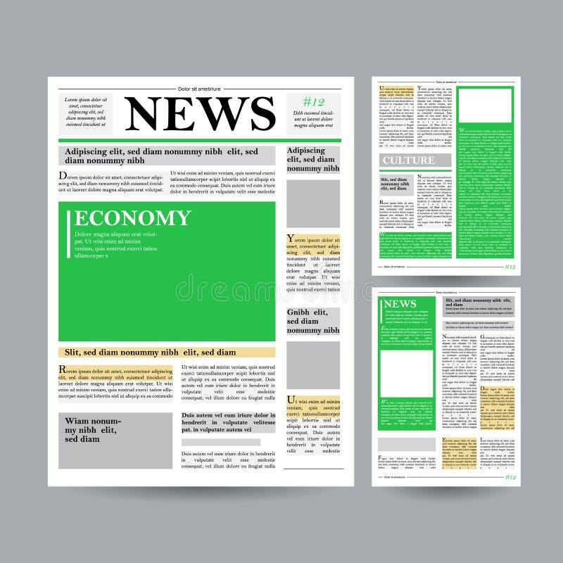 Vektor för tidningsdesignmall Finansiella artiklar, information om advertizingaffär Världsnyheterekonomirubriker stock illustrationer