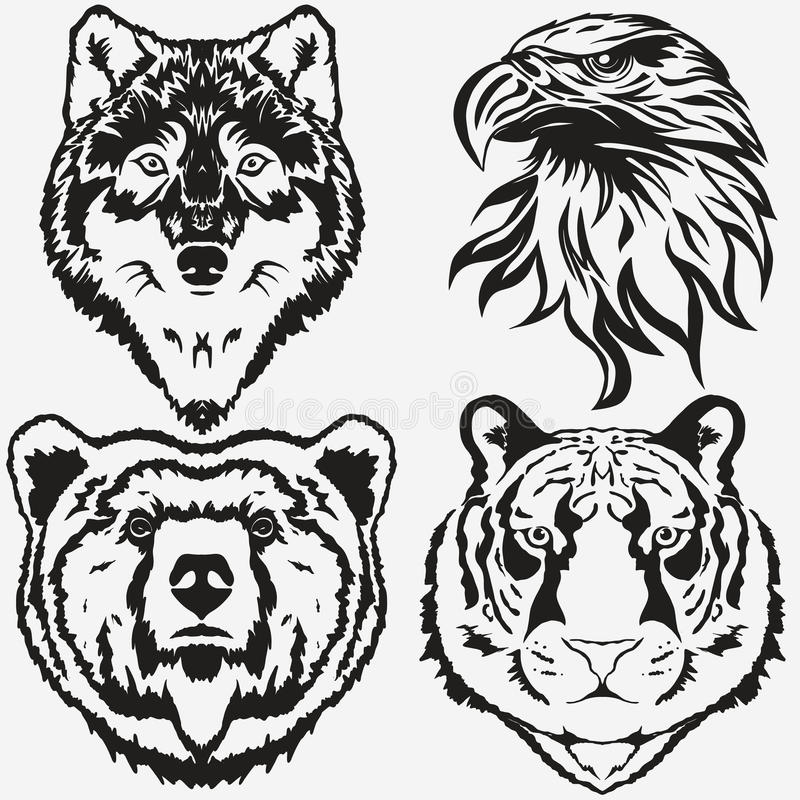 Vektor för Tiger Eagle Wolf Bear logouppsättning vektor illustrationer