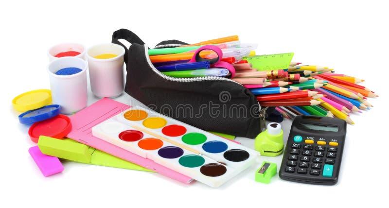 vektor för tillförsel för illustrationkontorsskola Vektorillustrationen, eps10, innehåller stordior kulöra blyertspennor, penna,  arkivbilder