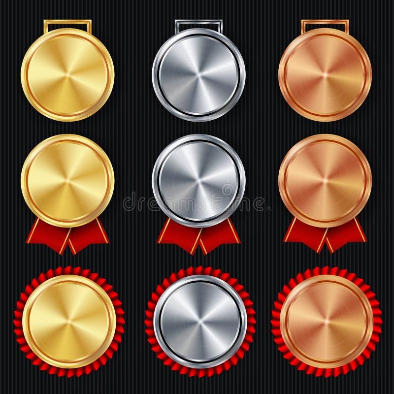 Vektor för tom uppsättning för medaljer Realistiskt första, andra tredje placeringspris Klassiskt tomt medaljbegrepp rött band Sp stock illustrationer