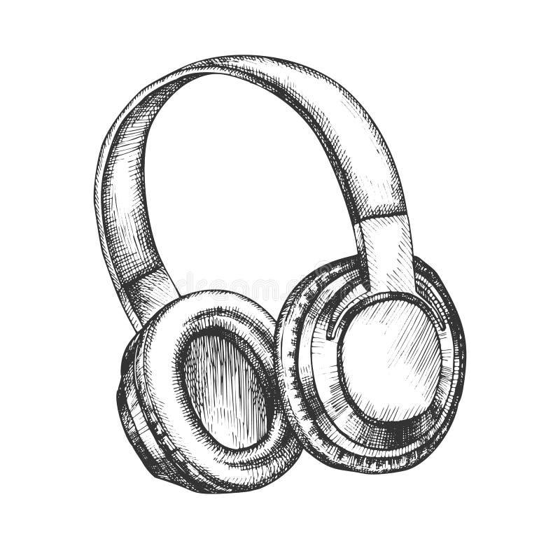 Vektor för trådlösa hörlurar för musiköverordnad enhet stock illustrationer