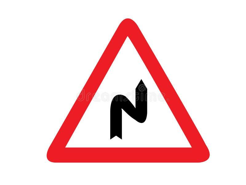Vektor f?r trafiktecken, mer kurvor f?rst till den h?gra vektorn stock illustrationer