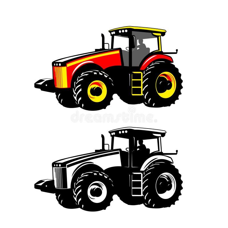 Vektor för traktorlantgårdmaskin för illustrationorange för bakgrund ljust materiel vektor illustrationer