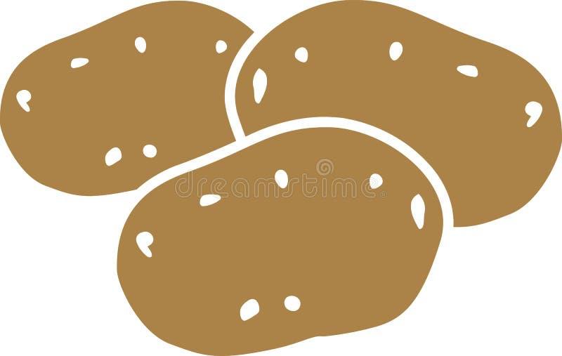 Vektor för tre potatisar vektor illustrationer