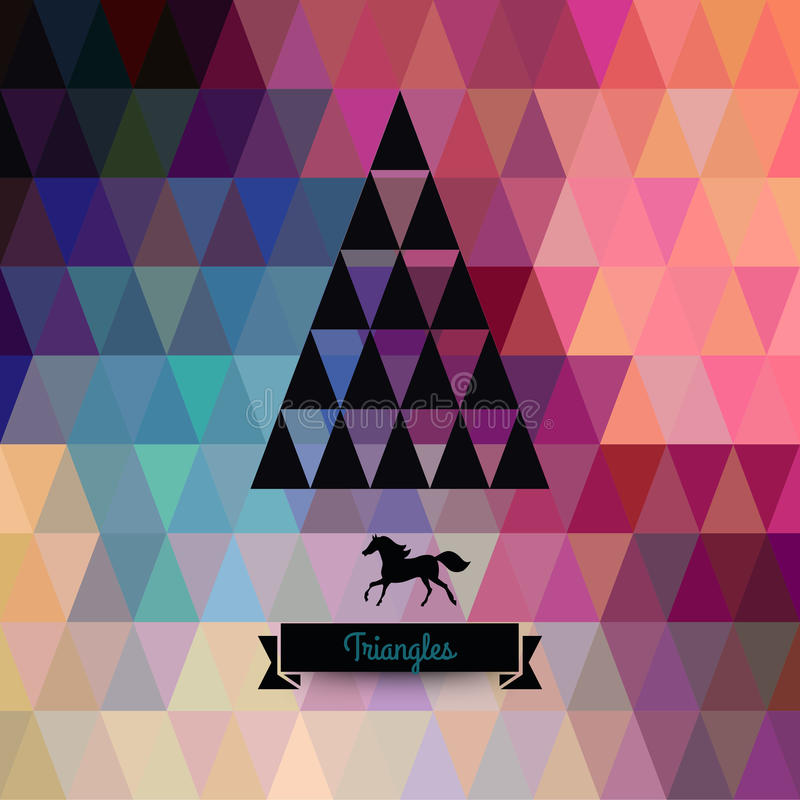 vektor för tree för fluffiga prydnadar för hälsning för jul för bakgrundsbokehkort naturliga röd trianglar jul min version för po stock illustrationer