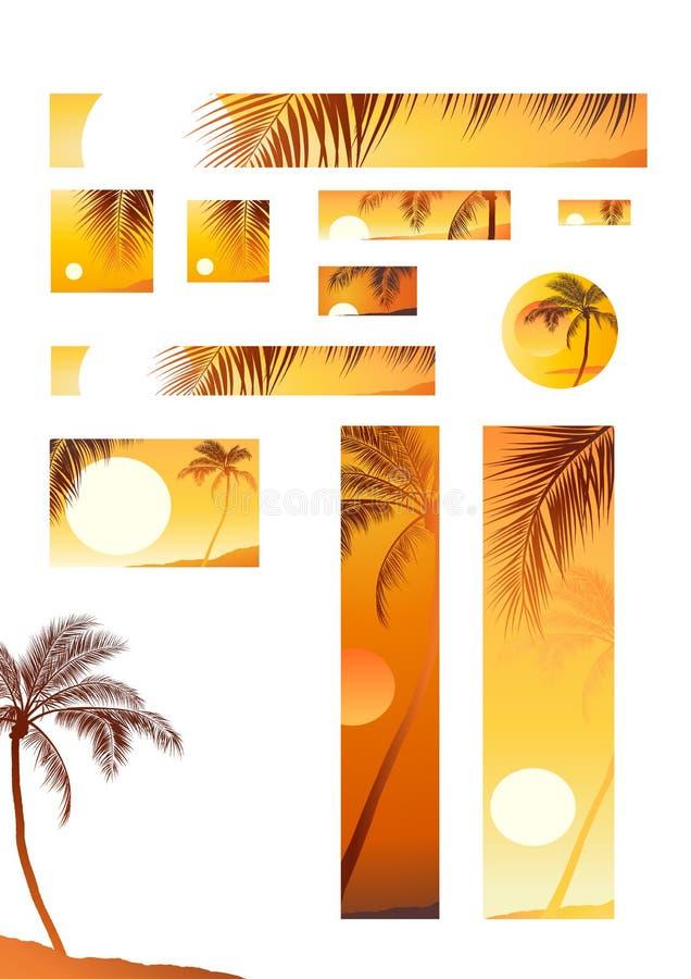 vektor för tree för kokosnötillustrationsolnedgång stock illustrationer
