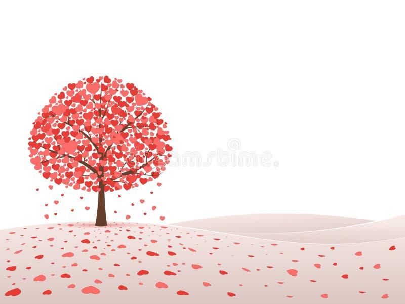 vektor för tree för symbol för hjärtaillustrationförälskelse royaltyfri illustrationer