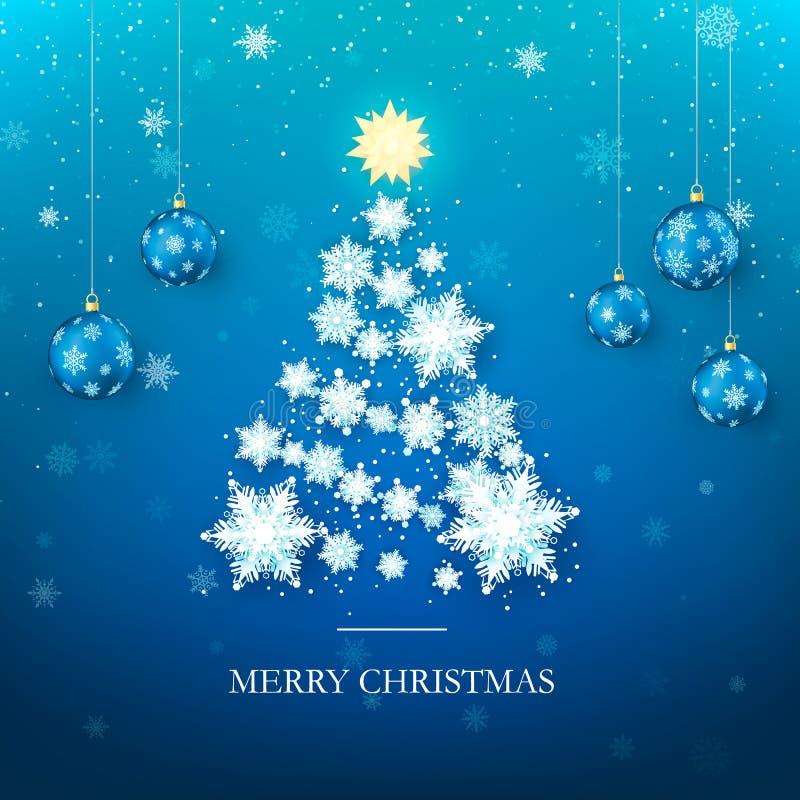 vektor för tree för illustration för hälsning för kortjul eps10 Trädkontur för nytt år från pappers- snöflingor och blåa julbolla royaltyfri illustrationer