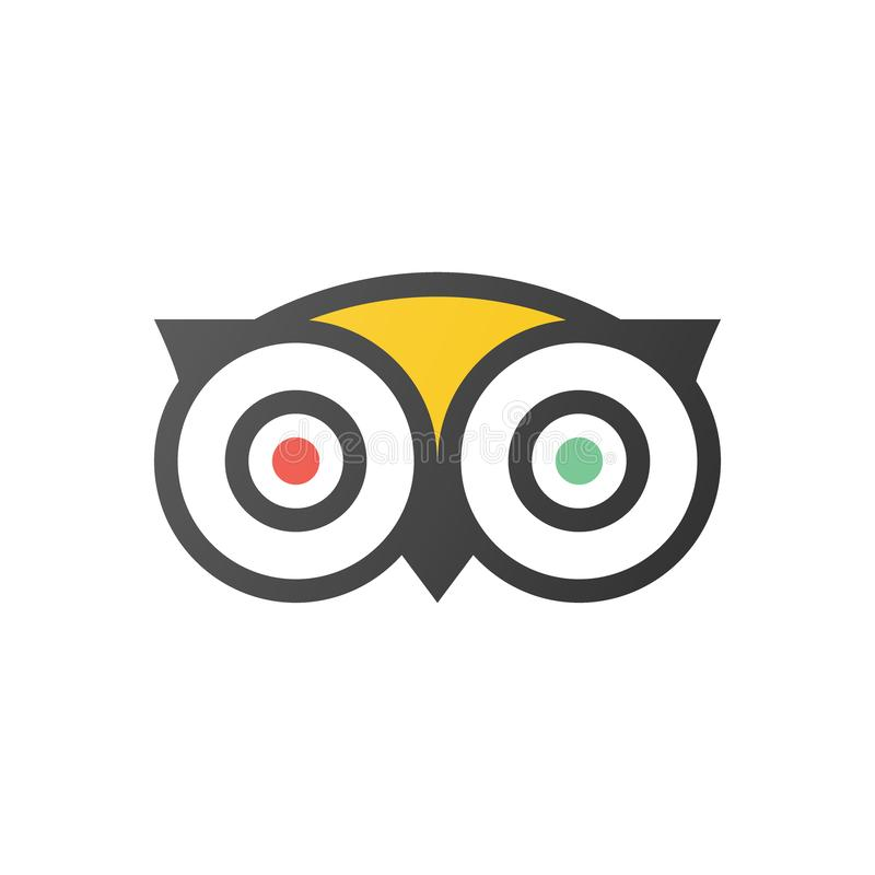 Vektor för Tripadvisor logosymbol - populär service med värdering av hotell och dragningar för lopp stock illustrationer