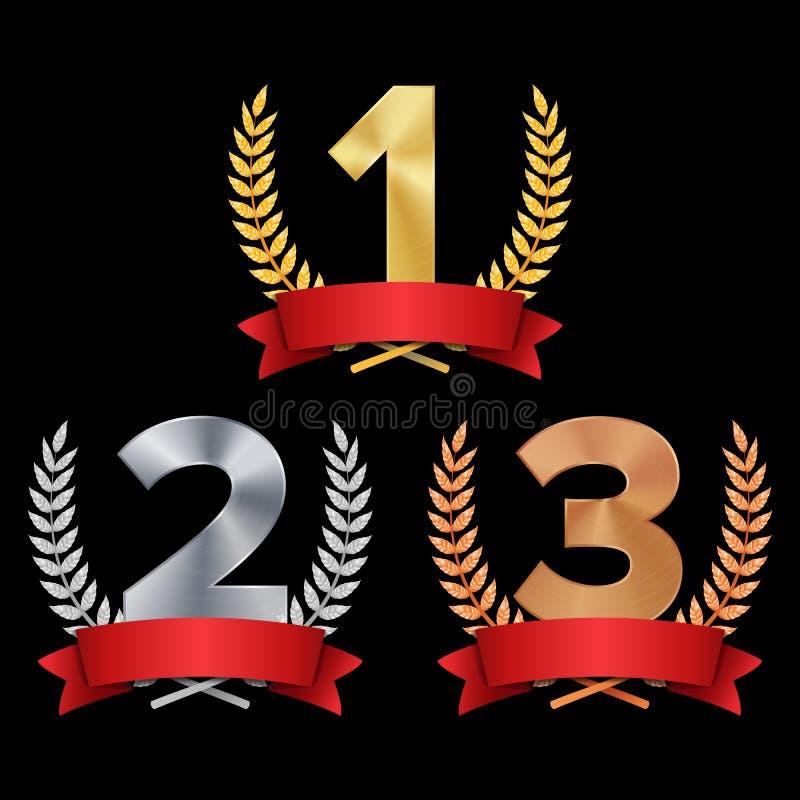 Vektor för troféutmärkelseuppsättning Diagram 1, 2, 3 en, två, tre i en realistisk guld- silverbrons Laurel Wreath And Red Ribbon stock illustrationer