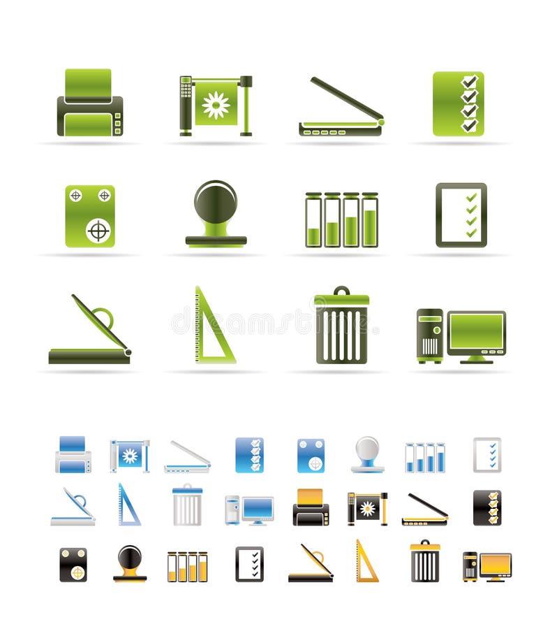 vektor för tryck för symbolssymbolsindustri set royaltyfri illustrationer