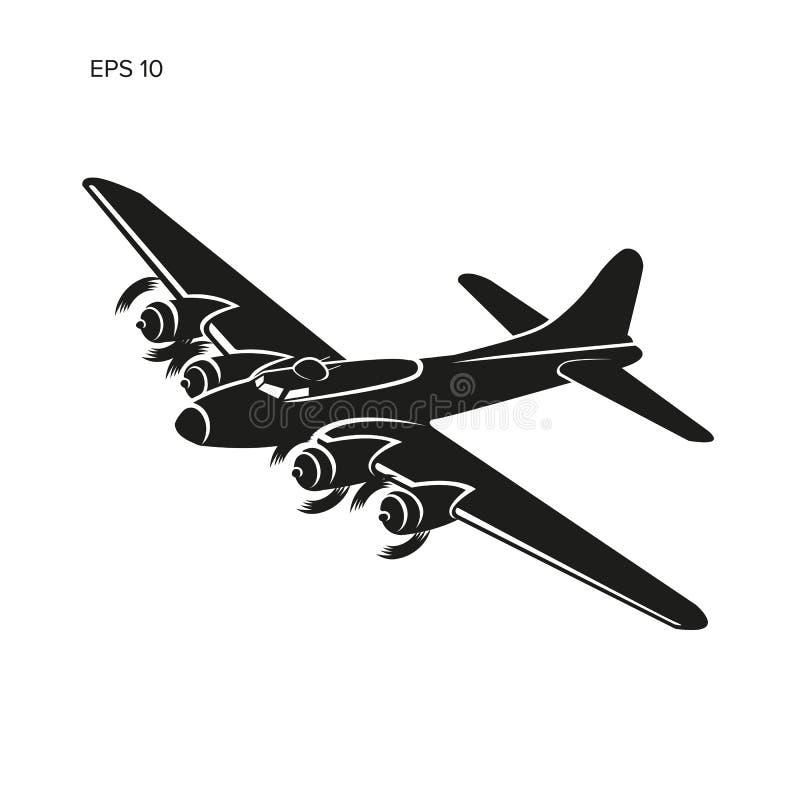 Vektor för tung bombplan för tappningvärldskrig 2 legendarisk Gammalt retro framdrivit tungt flygplan för pistongmotor royaltyfri illustrationer