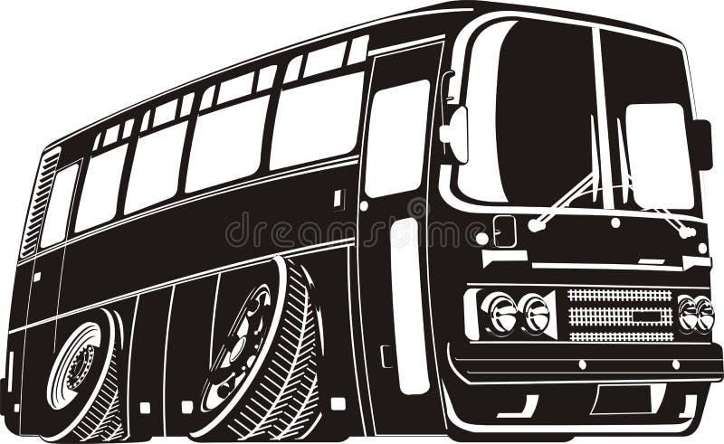vektor för turist för busstecknad filmsilhouette royaltyfri illustrationer