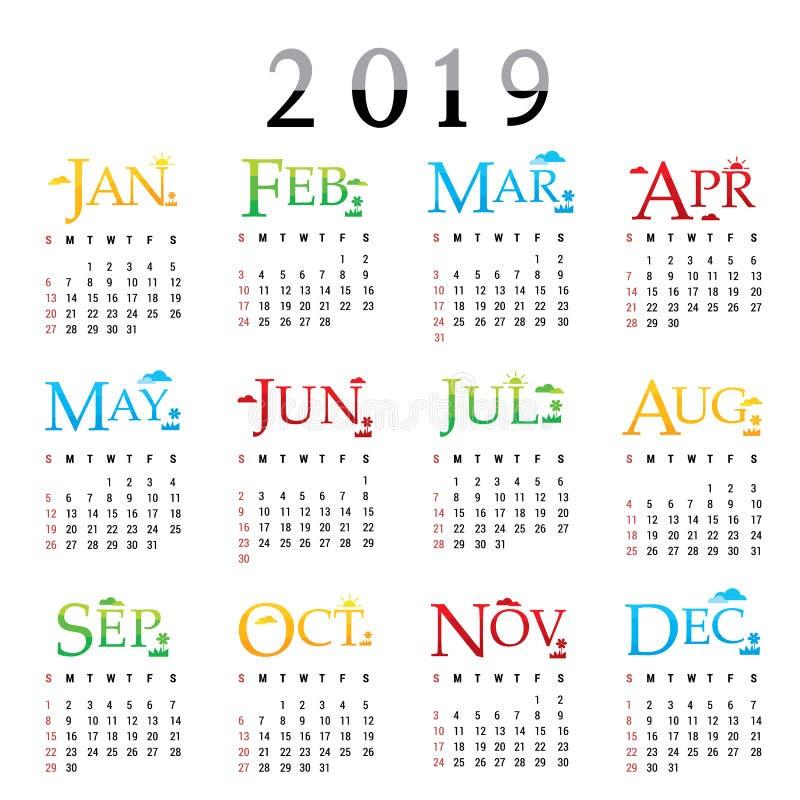 Vektor 2019 för typografi för text för kort för hälsning för lyckligt nytt år för kalenderstadsplanerare vektor illustrationer