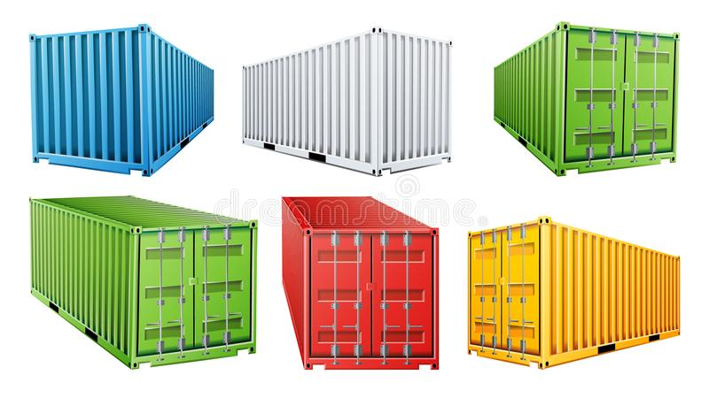 vektor för uppsättning för behållare för sändningslast 3D Blått rött, grönt som är vita, guling Fraktsändningsbehållarebegrepp lo stock illustrationer