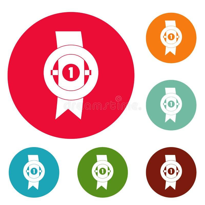 Vektor för uppsättning för cirkel för utmärkelsebandsymboler stock illustrationer