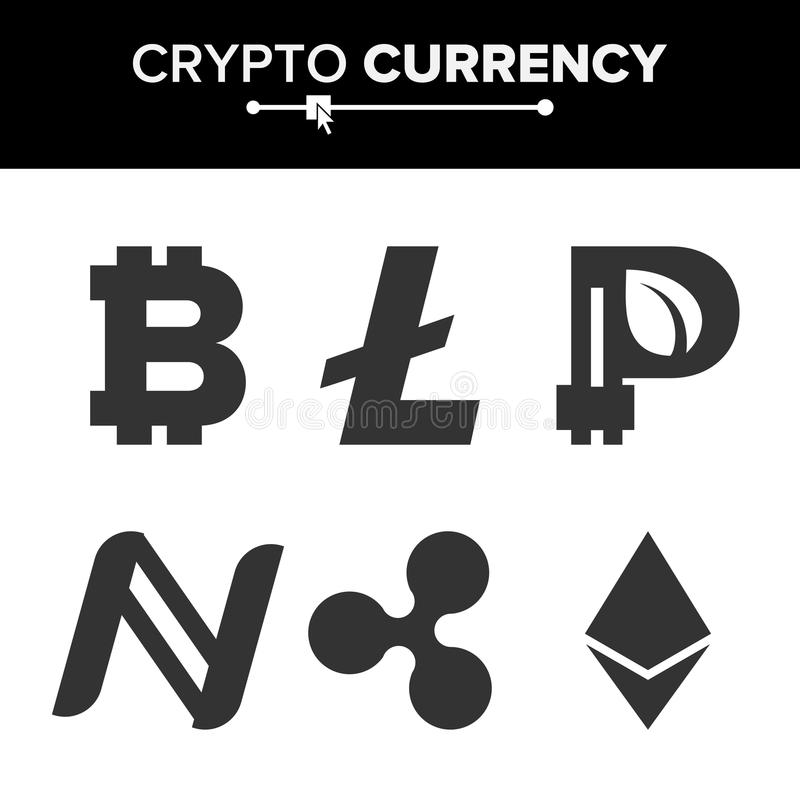 Vektor för uppsättning för Digital valutaräknare Fintech Blockchain Berömd världskryptografi Crypto tecken för valutapengarfinans stock illustrationer