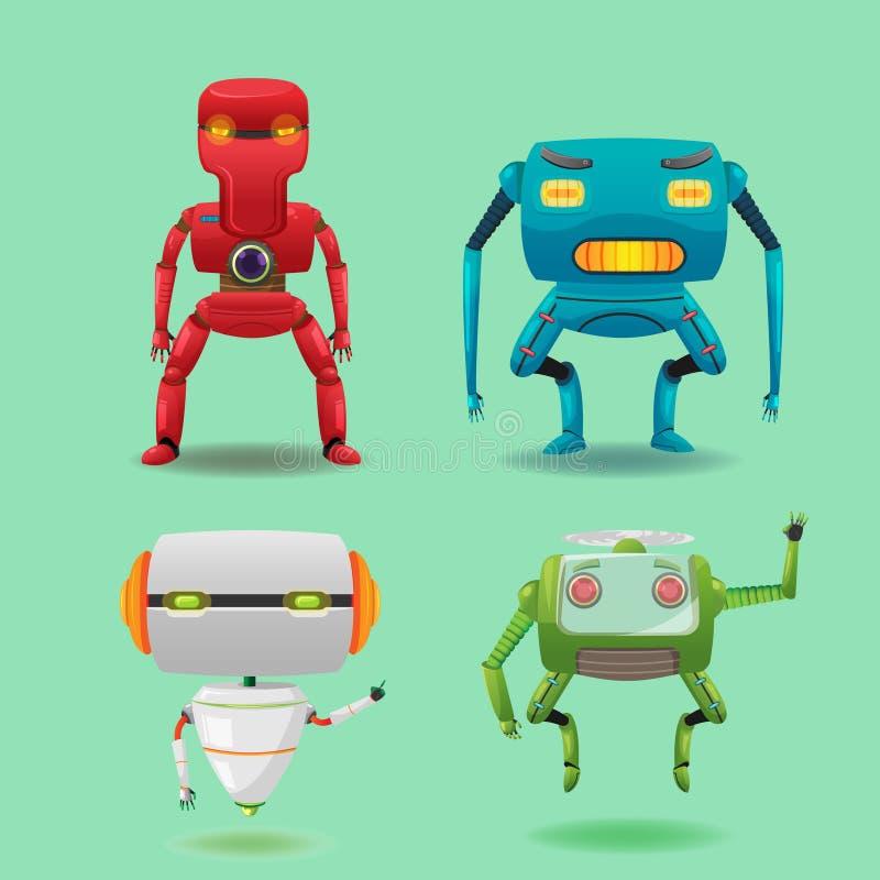 Vektor för uppsättning för samling för robotmaskintecken stock illustrationer