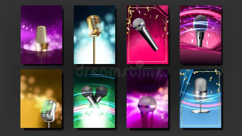Vektor för uppsättning för mellanrum för karaokeaffischmall Mic Design Diskobaner Stämmautrustning Allsångsång Lyxigt emblem hörb royaltyfri illustrationer