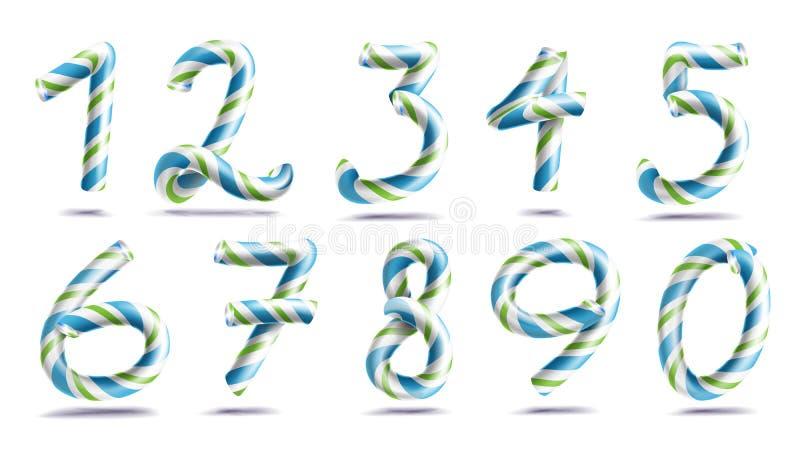 Vektor för uppsättning för nummertecken tal 3D Diagram 1, 2, 3, 4, 5, 6, 7, 8, 9, 0 Julfärger Blått gör grön randigt stock illustrationer