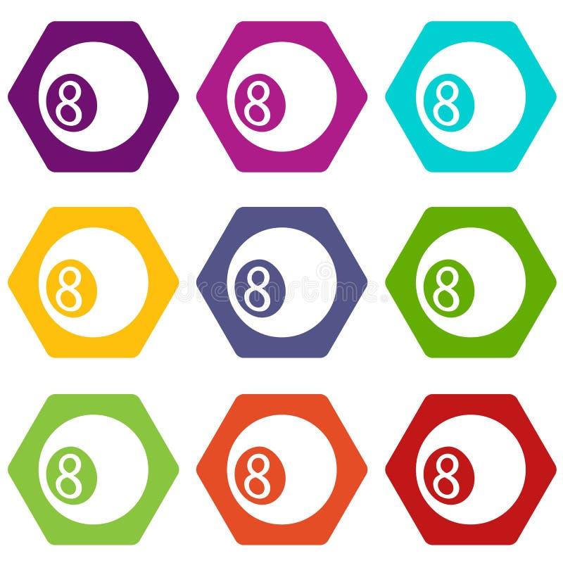 Vektor för uppsättning 9 för symboler för Billiardboll stock illustrationer