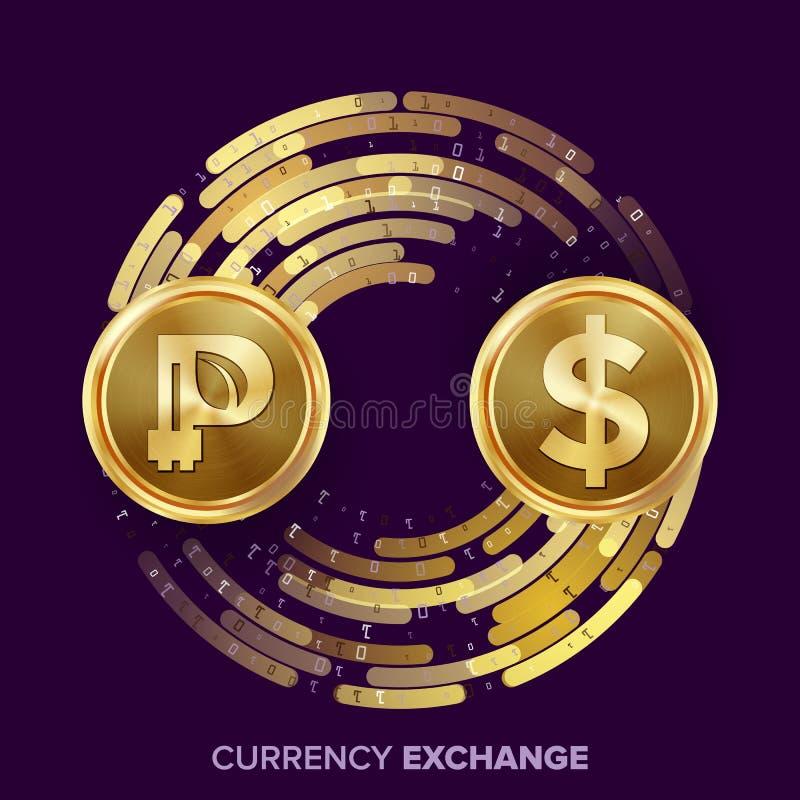 Vektor för utbyte för Digital valutapengar Peercoin dollar Fintech Blockchain Guld- mynt med den Digital strömmen royaltyfri illustrationer