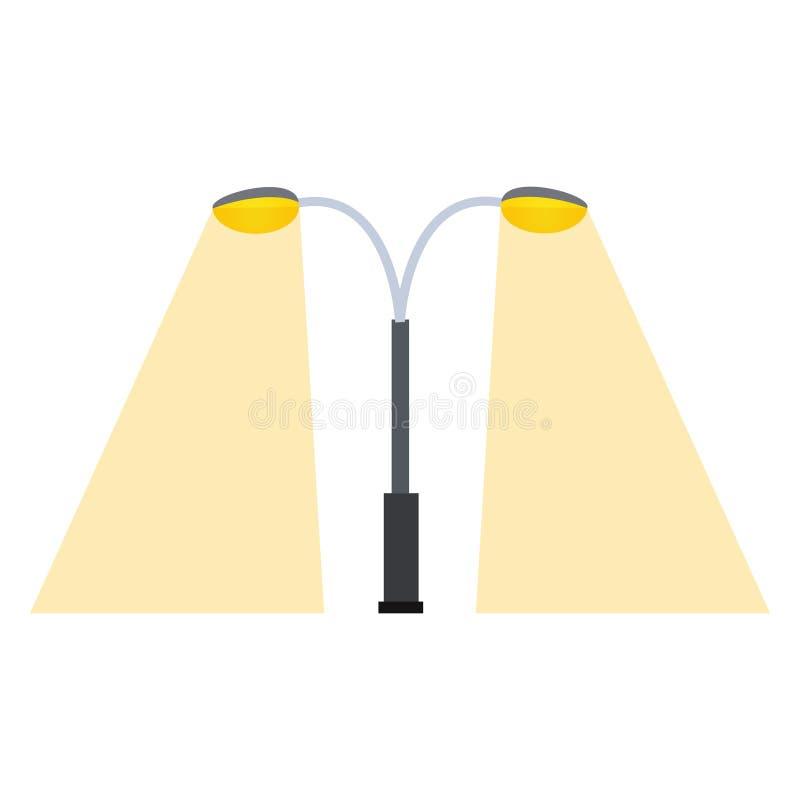 Vektor för utrustning för natt för retro för metall för kontur för gatalampa för objekt för elektricitet för bransch lägenhet för stock illustrationer