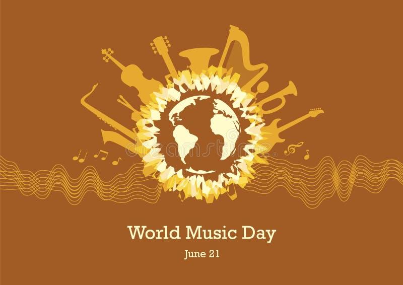 Vektor för världsmusikdag royaltyfri illustrationer