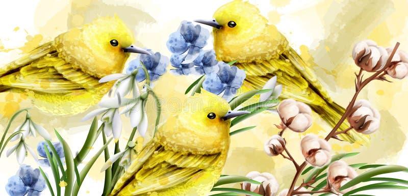 Vektor för vårkortvattenfärg med gulliga fåglar och blommor Guld- små fåglar Tappningfärgfläckar plaskar på bakgrunder stock illustrationer
