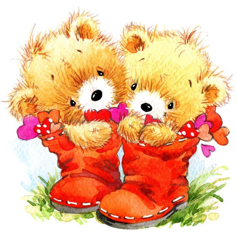 vektor för valentin för pardagillustration älska Rolig nallebjörn och röd hjärta royaltyfri illustrationer