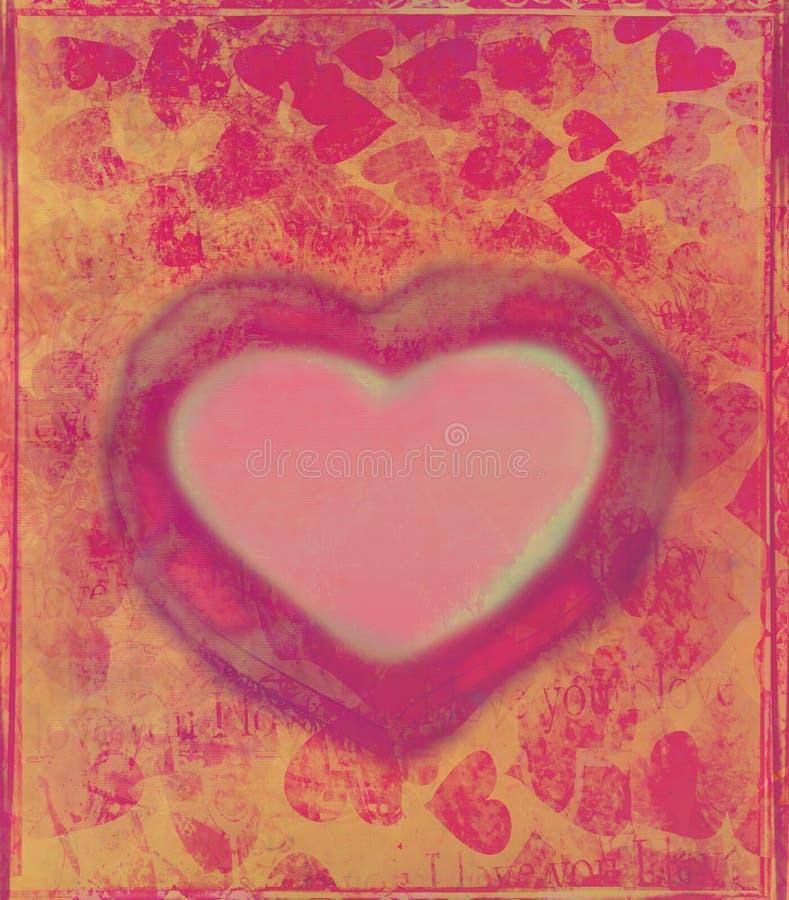 vektor för valentin för text för avstånd för bild s för hjärta för grunge för gåva för ram för bakgrundskortdag stock illustrationer